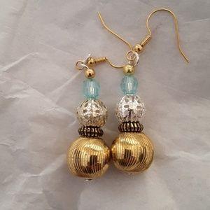Handmade gold bauble earrings